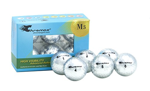 Chromax Metallic M5 Colored Golf Balls (Pack of 6), Silver