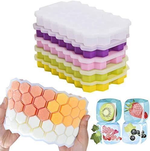Luoistu Paquet de 5 bacs à glaçons, bacs à glaçons avec couvercle, forme en nid d'abeille,...