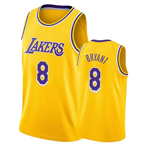CLKI Lakers # 24 y # 8 Bryant - Camiseta de baloncesto para hombre, malla transpirable, pantalones cortos de competición (S-2XL) # 8 amarillo-XL