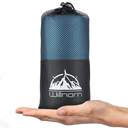 WILLNORN 2in1 Hüttenschlafsack aus Mikrofaser, mit durchgängigem Reißverschlus: Leichter Komfort Reiseschlafsack und XL Reisedecke in Einem(95 * 220 cm) (Hellblau)