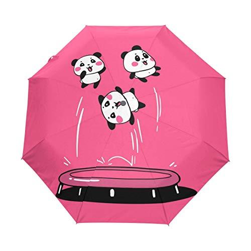 Winddicht Versterkte Frame, Automatische Paraplu- Auto Open Sluiten voor Snelle Vrijgave Compact- Leuke Cartoon Panda Springen Trampoline Roze