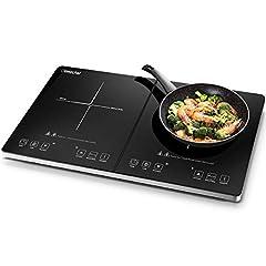 Amzchef inductie kookplaat, dubbele inductie kookplaat met onafhankelijke controle, 10 temperatuurniveaus, meerdere vermogensniveaus, 3500W, 3-uurs timer, veiligheidsslot*