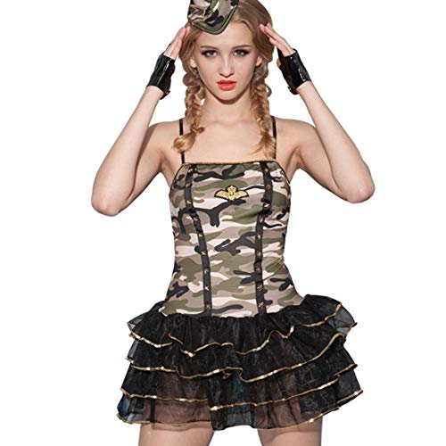 Listen to Zen Womens Halloween Kostüm | Sexy Polizistin Polizistin Outfit-Sexy Uniform Militär Kostüm weibliches Kriegerkleid