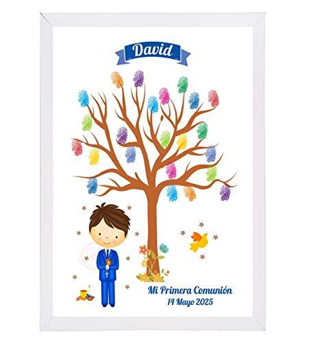 Cuadro Árbol de Huellas Niño - Recuerdos y Detalles Comunión Personalizados - Incluye marco, almohadilla 5 tintas y explicación - Original Recuerdo de los Invitados a vuestra Comunión.