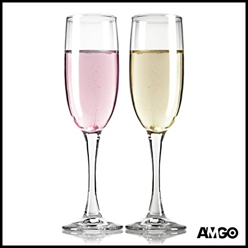 High End Crystal Champagne Flutes Glasses 7 Ounce by Amgo - Set of 2