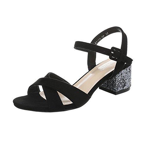 Ital-Design High Heel Sandaletten Damen-Schuhe Pump Riemchen Schnalle Sandalen & Schwarz, Gr 38, By173-Sp-