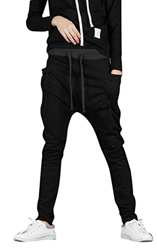 SportsWell Casual Jogging Harem Pants Sweatpants Running Trousers, Black, US M(Tag size XL)