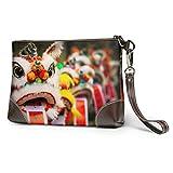XCNGG Morbida pochette impermeabile in pelle con leone danzante parata del capodanno cinese grande portafoglio da polso con cerniera per donne ragazze