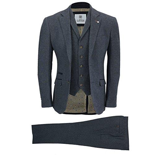 Männer Wolle Mix 3 Stück Anzug Jahrgang Herringbone Tweed elegant Formal Maßgeschneidert in Braun, Marine[SUIT-MARTEZ-Blau-44]