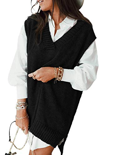 Dokotoo Sweater Vest Women Knitted V Neck Oversized Sweaters Sleeveless Knitwear Tank Tops Black X-Large