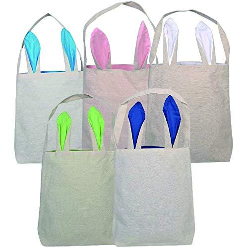 ZZA Sacchetto Regalo Pasqua Borse Coniglietto di Pasqua Juta Cotton Tote Bags con Le Orecchie alzati per Le Uova Caccia (Rosa + Verde + Blu Scuro + Blu Chiaro + Bianco) (Color : 5pcs)