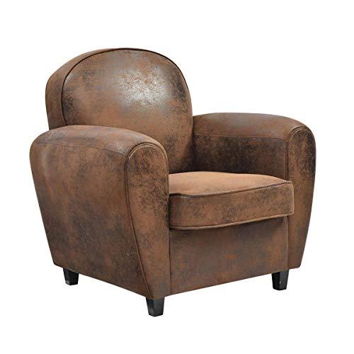 AltoBuy GANSSI - Club Armchair Brown Aged Leather Look