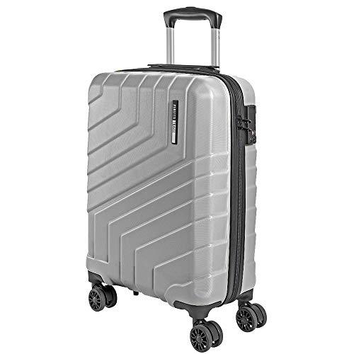 Valigia Trolley da Viaggio Rigida - Idonea Ryanair e Easyjet 55x40x20 cm 35 Litri - Bagaglio a Mano Ultra Leggero in ABS con Chiusura TSA e 4 Ruote Doppie Girevoli - Perletti Travel (Argento, S)