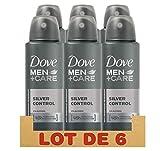 Dove Men + Care Déodorant Homme Protection 48h Silver Control, sans Alcool (Lot de 6 x 150ml)