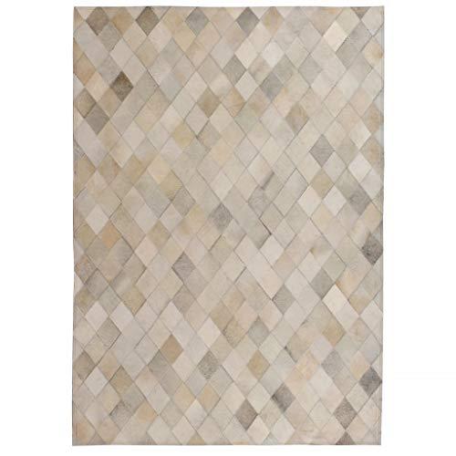 Geniet van winkelen met Vloerkleed ruit patchwork 80x150 cm echt leer grijs