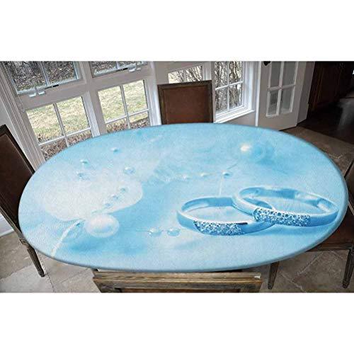 Mantel ajustable de poliéster elástico, anillos de boda con perlas sobre fondo azul de ensueño, impresión decorativa oblongo/ovalada, para mesas de hasta 48 pulgadas de ancho x 68 pulgadas de largo