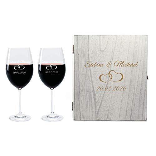 FORYOU24 2 Leonardo Weingläser mit Vintage Geschenkbox und Gravur Paar zur Hochzeit Geschenkidee Wein-Gläser graviert