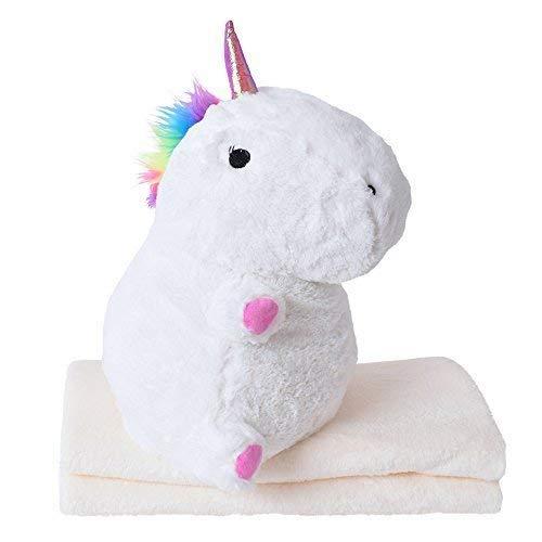 TE-Trend Baby Plüsch Einhornkissen Einhorn Kuscheltier Unicorn 40cm Kissen Kuschel Decke weiß