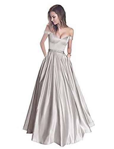 LuckyShe Damen Elegant Abendkleider Lang Ballkleider für Hochzeit 2018 Günstige Silber Grosse Grössen 50