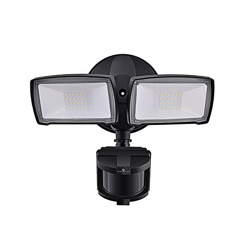 LED Security Lights, 28W 3000LM Motion Sensor Light Outdoor, GLORIOUS-LITE Super Bright 2 Head Outdoor Flood Light, 5500K, IP65 Waterproof, ETL Certified for Garage, Yard, Porch (NO Solar Power)