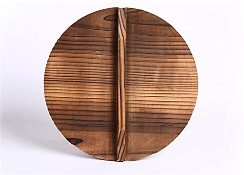 ALUNVA Iron Wok Tradicional Handmade Wok Wok Pan no Palo No-Recubrimiento Cocina de Gas FQYXLX (Color : Wood Lid, Sheet Size : 32cm)