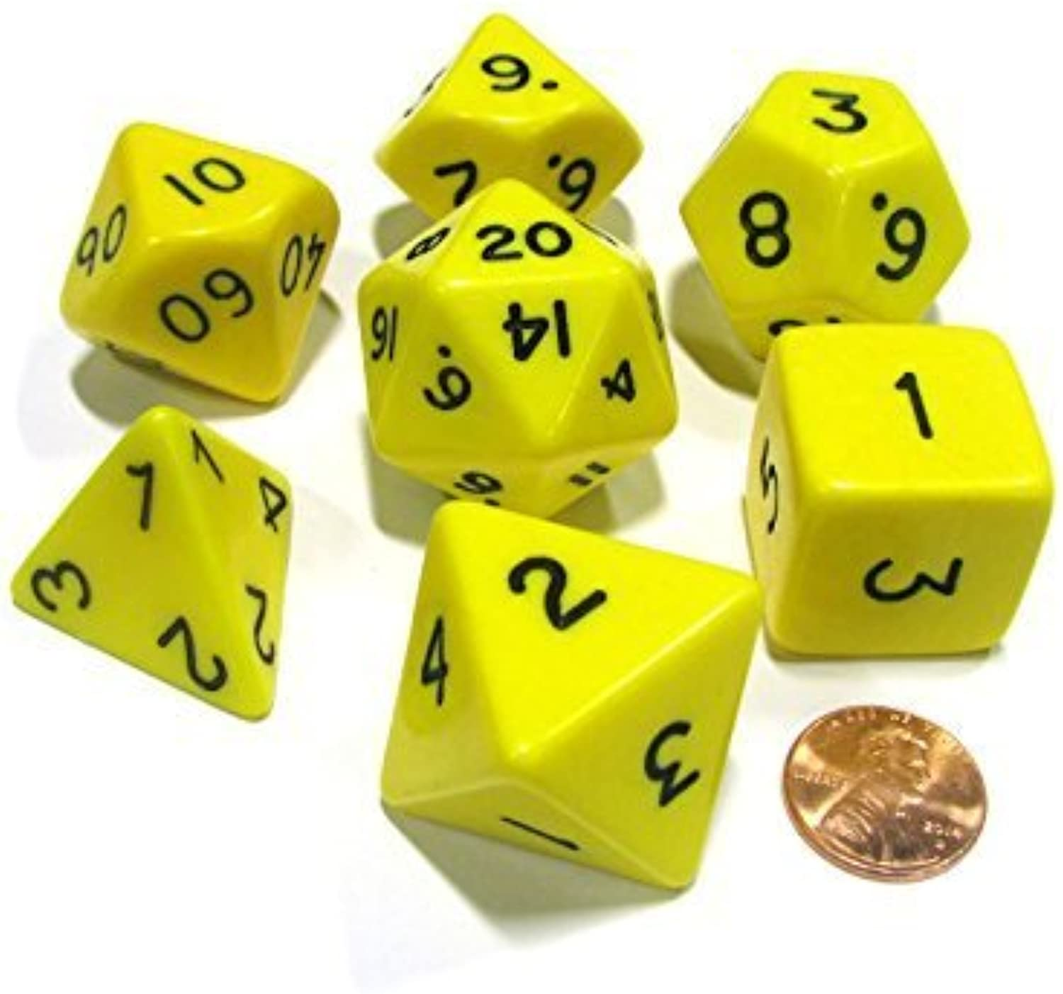 Yellow Jumbo Size 7 Pc Polyhedral Dice Set D4, D6, D8, 2xd10, D12, D20 by KOPLOW GAMES