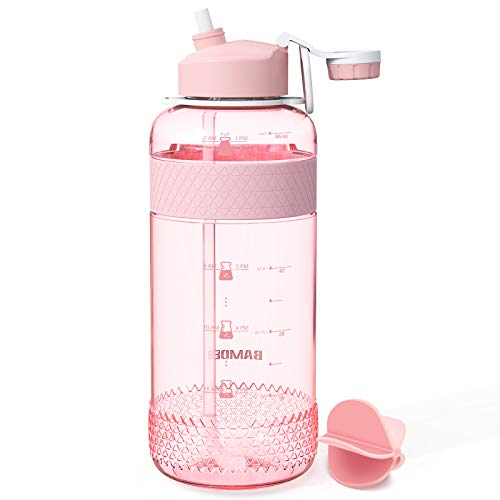 SYOSIN Sports Water Bottle with Straw, 1000ml & 2000ml Large Water Bottles...