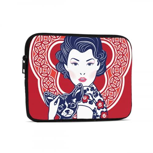 Bolsa de cremallera azul y blanco china señora impermeable Ipad bolsa compatible con iPad 7.9/9.7 pulgadas a prueba de golpes neopreno cremallera Tablets bolsa protectora con correa de asa