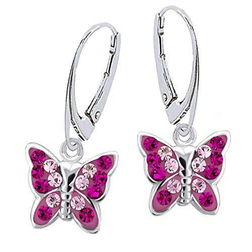 Kristall Schmetterling Klapp-Brisur Ohrringe 925 Echt Silber Mädchen Kinder Ohrstecker Ohrhänger (1a) Magenta-Rosa)