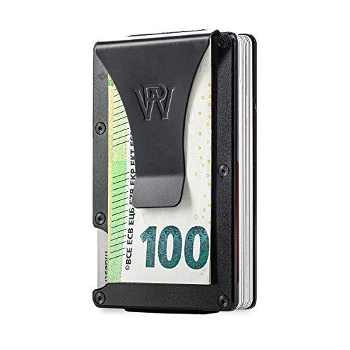 RFID Kreditkartenetui 15 Karten mit Geldklammer | RFID Geldbeutel Herren | Slim Wallet Kreditkarten Etuis | Mens Wallet Purse