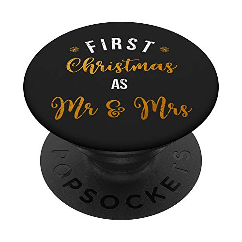 First Christmas Mr & Mrs Vintage Couple Holiday Gift PopSockets Grip and Stand for Phones and Tablets