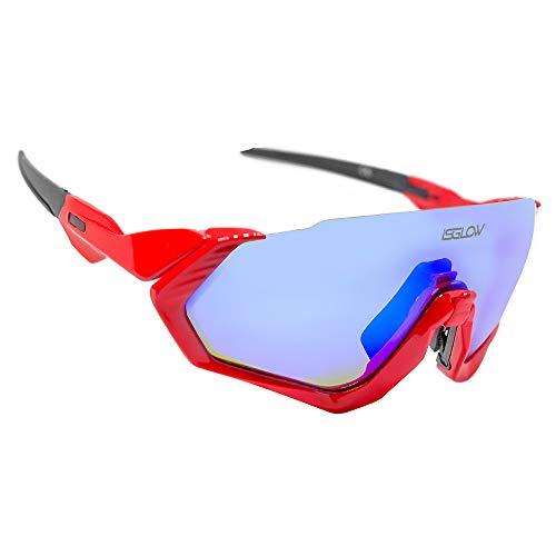 Gafas Ciclismo Hombre. Polarizadas Flight Jacket. 3 Lentes Intercambiables,antivaho, Resistentes a Impactos.Protección UV400. Ideales para Running, Esquí, Golf, MTB, Triatlon, Ciclismo (Rojo)