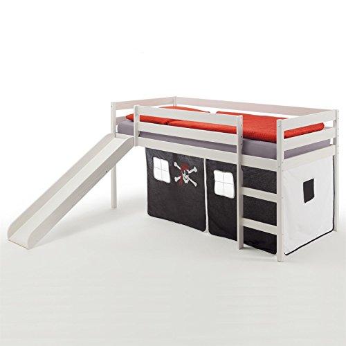 IDIMEX Spielbett Rutschbett Hochbett Benny, mit Rutsche in Kiefer massiv weiß, Vorhang in schwarz mit Piratenmotiv, Liegefläche 90 x 200cm
