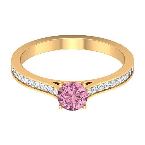 Piedra de nacimiento de octubre - 5,00 mm anillo solitario de turmalina rosa, anillo de diamante HI-SI, anillo de piedra lateral, 14K Oro amarillo, Size:EU 61