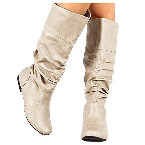 Hohe Stiefel mit Blockabsatz - Dasongff Damen Stiefeletten Retro Comfort Frauen Ankle Boots Bootie Herbst Winter Knee Stiefel Stiefelette Knöchel Schuhe Worker Boots Schneestiefel Damen Schuhe