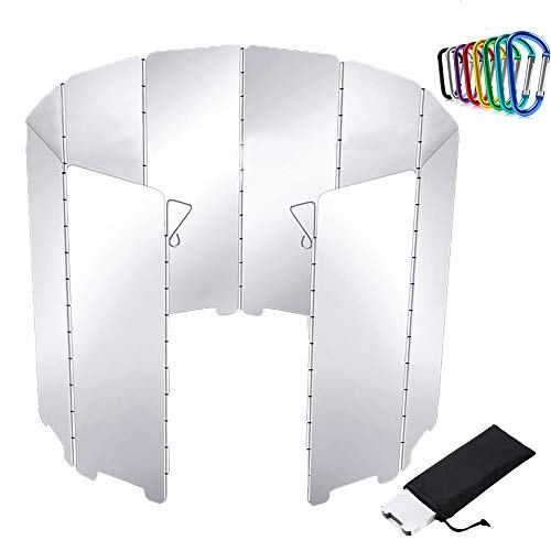 Windschutz Hikenture Alu Windschutz mit 10 Lamellen Windschutzscheibe Faltbarer Aluminiumwindschutz leichter Windscreen Hitzereflektor für Campingkocher Gaskocher