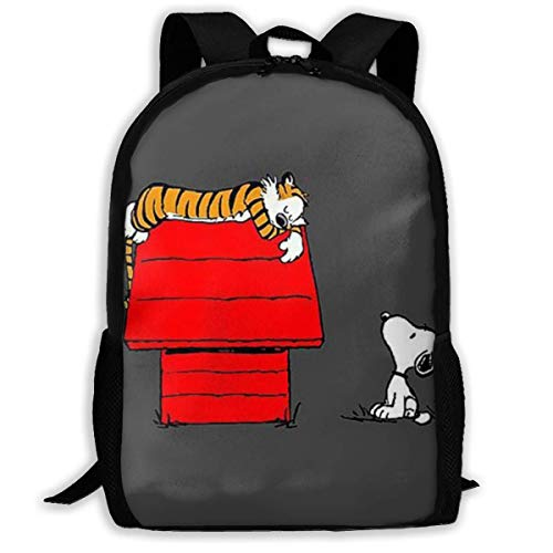 Mei-shop Casual Backpack Sn-oopy's Home Print Zipper School Bag Travel Daypack Backpack