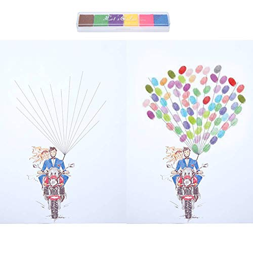 árbol de huellas dactilares, cartel de libro de visitas de boda DIY Firma de invitado Libro de inicio de sesión Pintura de árbol de huella digital para fiesta de cumplea?os de boda(C)