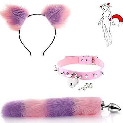 Rosa Niet Liebe Schlüssel Kragenchoker Halskette + Flauschigen Plüsch Edelstahl Fuchsschwanz Anale Plug & Katzenohren Stirnband Cosplay Charms 3 Teilesatz (Pink & Lila)