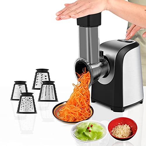 Automatisch Elektrisch Gemüsehobel, Gemüseschneider 150W Elektrische Küchenreibe Reibe mit 5 Kegel-Klingen Elektrischer Gemüsereibe Zerkleinerer Mit Ein-Knopf-Steuerung Geeignet