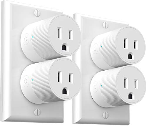 Wi-Fi Smart Plug, Mini Outlets Smart Socket No Hub Required Timing Function Control Your Electric Devices from Anywhere Works with Amazon Alexa and Google Assistant 4-Pack Amysen