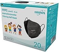 EUROPAPA 20x FFP2 Maske S in Kleiner Größe Mundschutz Masken Atemschutzmasken 5-lagig hygienisch einzelverpackt EU 2016/425