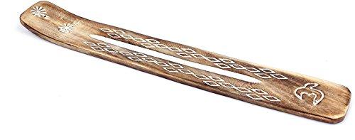 Exklusiver Räucherstäbchenhalter handgefertigt, braun aus Sheeshamholz zum Abbrennen von Räucherstäbchen, Länge ca. 26cm, Breite ca. 3,6cm