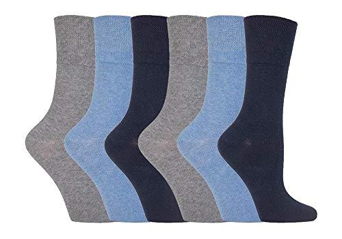 IOMI - 6er pack damen ohne gummi weitschaft baumwolle socken / diabetikersocken in 7 farben, Blau, 37-42 eur