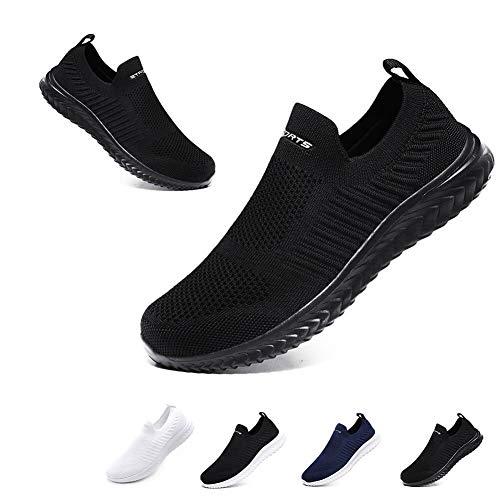 [Hanani] スニーカーメンズレディースナースシューズスポーツシューズスリッポンウォーキングシューズカジュアルシューズカップル靴婦人靴超軽量通気滑り止男女兼用高齢者26cm ブラック