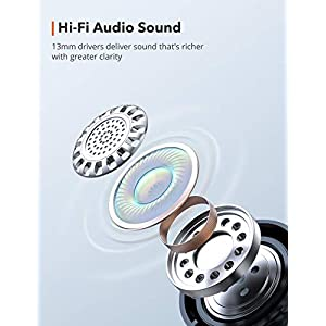 Wireless Earbuds, TaoTronics SoundLiberty 92 Bluetooth 5.0 Earbuds With Charging Case Hi-Fi Stereo TWS True Wireless Earbuds With Mic Smart Touch Control IPX8 Waterproof 30H PlayTime Wireless Earphone