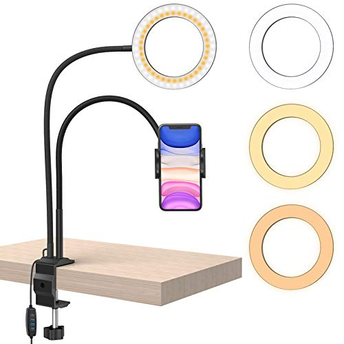 """6"""" Desktop Selfie Ring Light with Stand and Gooseneck Phone Holder, Klsniur 3 Light Mode Dimmable Led Phone Ring Light for Live Stream, Makeup, Camera, Video Recording, Compatible with iPhone Samsung"""