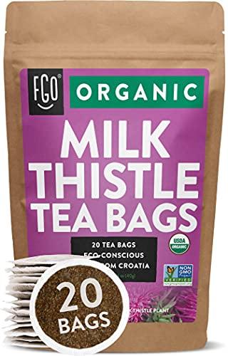 Organic Milk Thistle Tea Bags | 20 Tea Bags | Eco-Conscious Tea Bags in Kraft Bag | by FGO