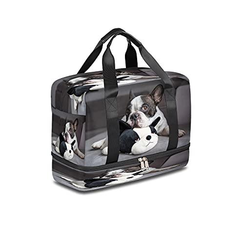 BOLOL - Bolsa de viaje para perro bulldog francés, bolsa de deporte para gimnasio, bolsa de viaje para cachorros y pandas, bolsa de noche para hombres y mujeres