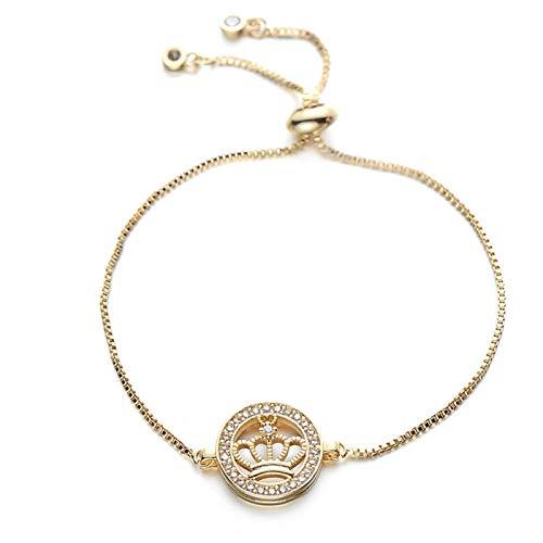 FUKAI Elegant Adjustable Round Chain Charm Bracelet Copper Cubic Zirconia Princess Crown Bracelet And Bangle (Color : Gold)